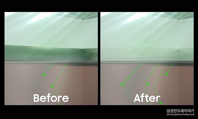 아이소셀 2.0 - 적용 이전이후 빛의 움직임